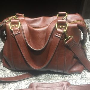 Merona Burgandy Leather Handbag